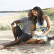 Young Couple Enjoying Picnic On Beach Together — Stock Photo #4836804