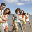 Group Of Young Friends Walking Along Summer Shoreline — Stock Photo