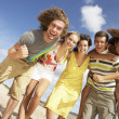 Group Of Friends Having Fun On Summer Beach — Stock Photo #4836874