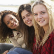Three Teenage Girls Sitting In Sand Dunes Together - Stock Photo