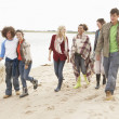 Group Of Young Friends Walking Along Autumn Shoreline — Photo