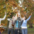 Group Of Teenage Friends Throwing Leaves In Autumn Landscape — Stock Photo #4836968