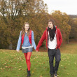 Romantic Teenage Couple Walking Through Autumn Landscape — Stock Photo #4836974
