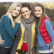 Group Of Three Teenage Female Friends In Autumn Landscape — Stock Photo