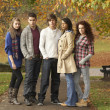 Group Of Five Teenage Friends Having Fun In Autumn Park — Stock Photo