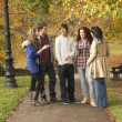 Group Of Five Teenage Friends Chatting In Autumn Park - Stock Photo