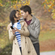 Romantic Teenage Couple In Autumn Park — Stock Photo