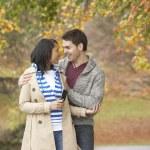 Romantic Teenage Couple In Autumn Park — Stock Photo