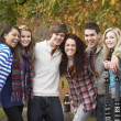 ストック写真: Group Of Six Teenage Friends Having Fun In Autumn Park