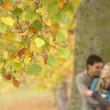 Shallow Focus View Of Romantic Teenage Couple By Tree In Autumn — Stockfoto