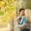 Shallow Focus View Of Romantic Teenage Couple By Tree In Autumn — Stok fotoğraf