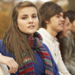 Close Up Of Group Of Teenage Friends In Autumn Park — Stock Photo