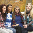 Group Of Four Teenage Girls Sitting On Bench In Autumn Park — Stock Photo