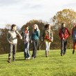 Group Of Teenage Friends Walking Through Autumn Landscape - Stock Photo
