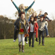 Group Of Teenage Friends Having Piggyback Rides In Autumn Landsc - Stock Photo