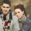 Romantic Teenage Couple In Autumn Landscape — Stock Photo