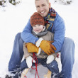 Father And Son Sitting On Sledge - Stok fotoğraf