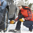 Woman Putting Snow Chains Onto Tyre Of Car — Stock Photo #4837239