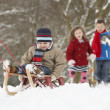 Father Pulling Children On Sledge Through Winter Landscape - Stock Photo