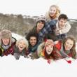 Group Of Teenage Friends Having Fun In Snowy Landscape — Stock Photo