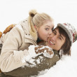 Romantic Teenage Couple Having Fun In Snow — Стоковая фотография
