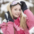 Stock Photo: Teenage Girl Wearing Winter Clothes In Snowy Landscape