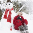Teenage Girl Next To Snowman With Flask And Hot Drink — Stock Photo