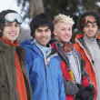 Group Of Teenage Friends In Snowy Winter Landscape - Foto Stock