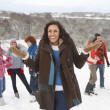 Stock Photo: Group Of Young Friends Having Fun In Snowy Landscape