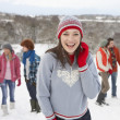 Group Of Young Friends Having Fun In Snowy Landscape - Foto de Stock