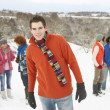 Group Of Young Friends Having Fun In Snowy Landscape — Stock Photo