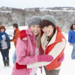 Group Of Young Friends Having Fun In Snowy Landscape — Stock Photo #4837396