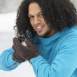Young Man About To Throw Snowball — Stock Photo