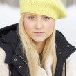 Close Up Of Teenage Girl In Snowy Landscape — Stock Photo