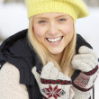 Close Up Of Teenage Girl In Snowy Landscape — Stock Photo #4837436