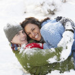 Romantic Couple Having Fun In Snow — Stock Photo