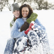 Foto Stock: Couple Sledging Through Snowy Woodland