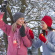 Two Teenage Girls Hanging Fairy Lights In Tree With Icicles In F - Stockfoto