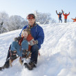 Father And Daughter Having Fun Sledging Down Hill - Stock fotografie