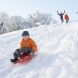 Young Boy Sledging Down Hill With Family Watching - Stock Photo