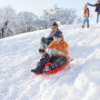 Young Boy Sledging Down Hill With Family Watching — Stock Photo
