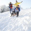 Family Having Fun Sledging Down Snowy Hill — Stock Photo #4837550