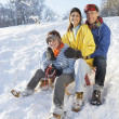 Family Enjoying Sledging Down Snowy Hill — Stock Photo #4837554