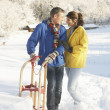 Young Couple Standing In Snowy Landscape Holding Sledge — Stock Photo