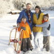 Young Family Standing In Snowy Landscape Holding Sledge — Stock Photo