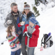 Family Stopping For Hot Drink And Snack On Walk Through Snowy La — Stock Photo