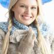 Pretty Young Woman Wearing Warm Winter Clothes In Studio — Stock Photo