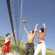 Stock Photo: Group Of Friends Playing Volleyball On Beach