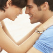 Romantic Young Couple Embracing On Beach — Stock Photo #4837942