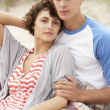 Romantic Young Couple Embracing On Beach — Photo